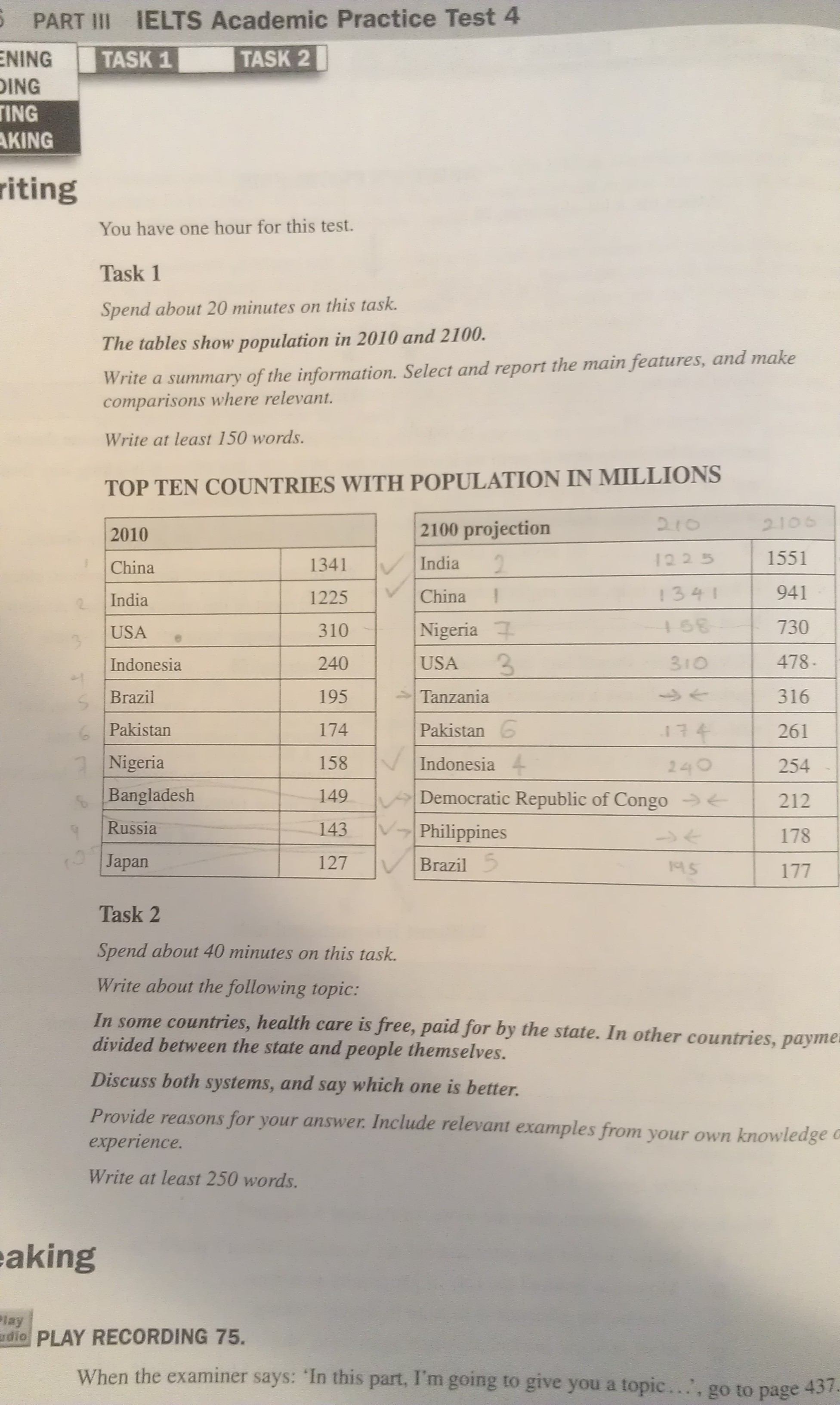 the table illustrates the population size of major countries in essay topics the table illustrates the population size of 10 major countries in the year 2010 and 2100 the figures demonstrate a clear increase in