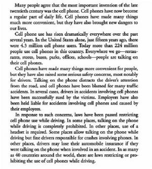 Argument Essay on the Use of Cell Phones while Driving