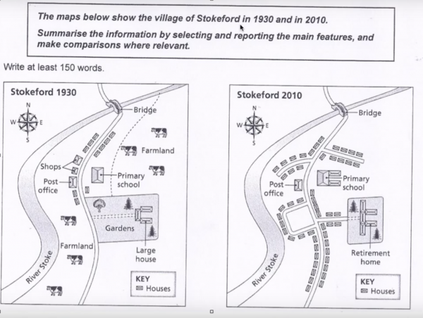 the maps below show the village of stokeford in 1930 and