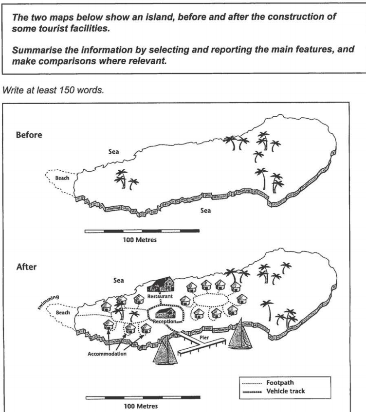 the two maps below show an island before and after the essay topics the two maps below show an island before and after the construction of some tourist facilities summarise the information by selecting and